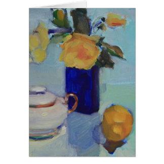 Ilustraciones de rosas amarillos y del limón tarjeta pequeña