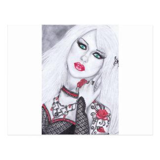 Ilustraciones de señoras y de flores hermosas postales