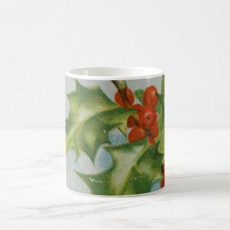 Ilustraciones del acebo del navidad del vintage taza