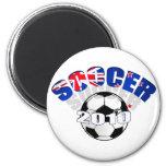 Ilustraciones del balón de fútbol de la bandera de imán para frigorifico