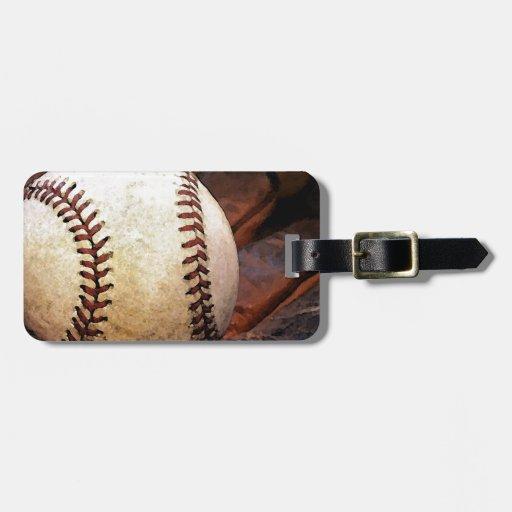 Ilustraciones del béisbol etiquetas para equipaje