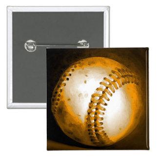 Ilustraciones del béisbol pin cuadrada 5 cm