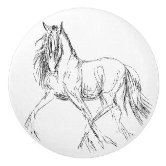 Ilustraciones del bosquejo del caballo que trota pomo de cerámica