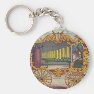 Ilustraciones del Calliope del vintage en la ropa  Llavero Redondo Tipo Pin