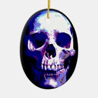 Ilustraciones del cráneo adorno navideño ovalado de cerámica