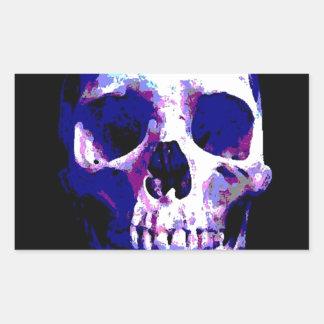 Ilustraciones del cráneo pegatina rectangular