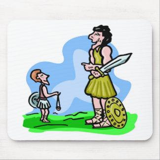 Ilustraciones del cristiano de David and Goliath Tapetes De Ratones