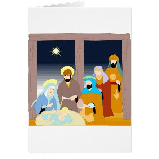 Ilustraciones del cristiano de la escena de la nat felicitacion
