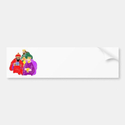 Ilustraciones del cristiano de tres wisemen pegatina de parachoque