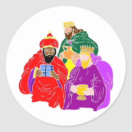 Ilustraciones del cristiano de tres wisemen pegatina redonda