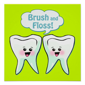 Ilustraciones del dentista del cepillo y de la sed póster