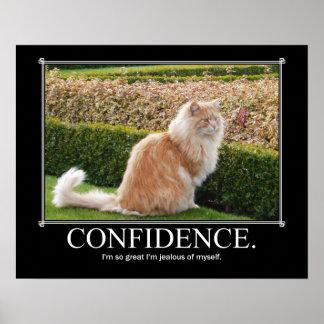 Ilustraciones del gato de la confianza divertidas póster
