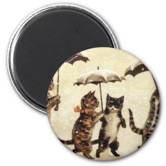 Ilustraciones del gato del desfile del gato del pa imán redondo 5 cm