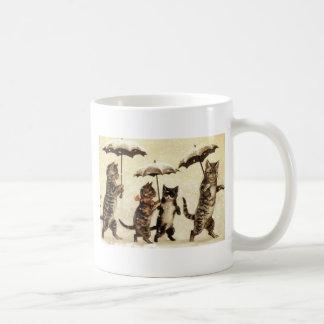 Ilustraciones del gato del desfile del gato del taza de café