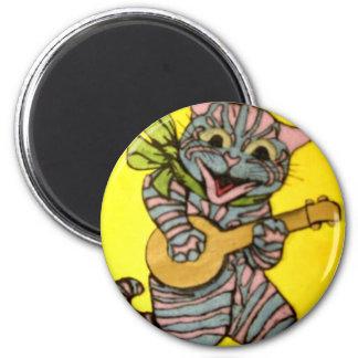 Ilustraciones del gato del Ukulele de Louis Wain Imán Redondo 5 Cm