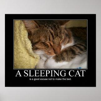 Ilustraciones del gato el dormir póster