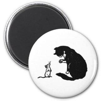 Ilustraciones del gato y del ratón imán redondo 5 cm