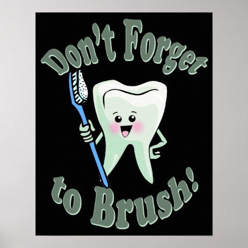 Ilustraciones del higienista dental del dentista póster