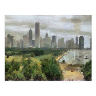 Ilustraciones del horizonte de Chicago Tarjeta Postal