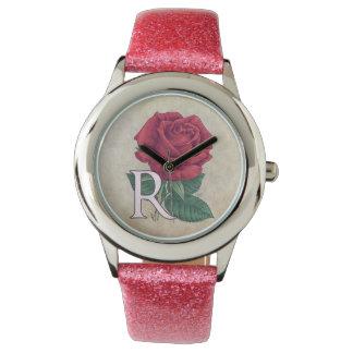 Ilustraciones del monograma del rosa rojo relojes