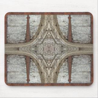 Ilustraciones del ornamento de madera y del hierro mouse pad