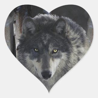 Ilustraciones del partidario de la fauna del LOBO Calcomanía De Corazón Personalizadas