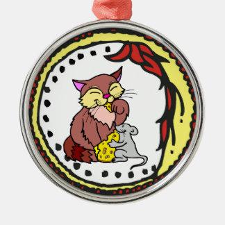 Ilustraciones del queso de la parte del gato y del adorno navideño redondo de metal