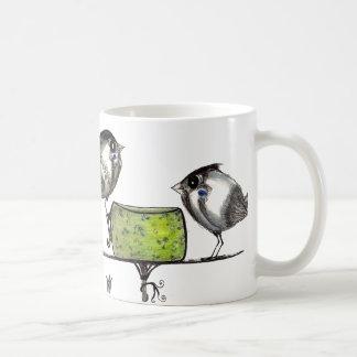 Ilustraciones del Teatime del gorrión con el poema Taza De Café