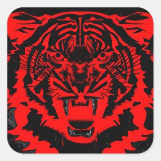 Ilustraciones del tigre de los Arty del gruñido en Pegatina Cuadrada