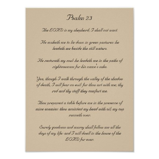 Ilustraciones del verso de la biblia, salmo 23 póster