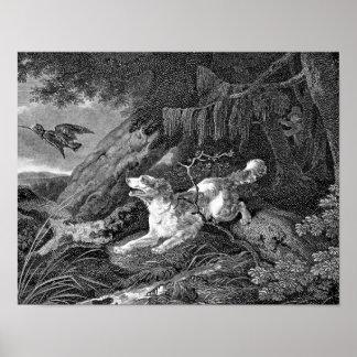 Ilustraciones del vintage del perro del saltador poster