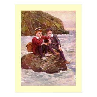 Ilustraciones del vintage que ofrecen a los postales