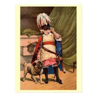 Ilustraciones del vintage que ofrecen al niño con tarjetas postales