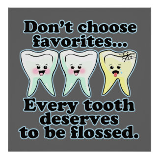 Ilustraciones dentales divertidas de la oficina poster