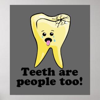 Ilustraciones dentales divertidas de la oficina posters