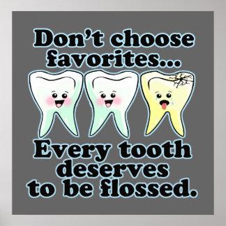 Ilustraciones dentales divertidas de la oficina póster