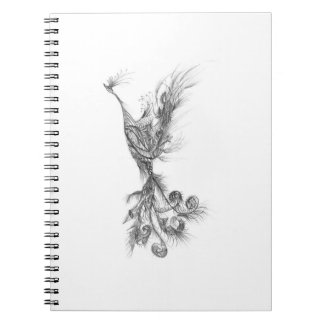 Ilustraciones dibujadas mano del pájaro de Phoenix Libros De Apuntes