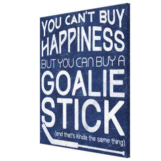 Ilustraciones divertidas del portero del hockey lona estirada galerías