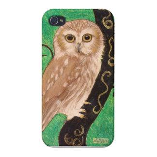 Ilustraciones en colores pastel del búho moderno p iPhone 4/4S carcasa