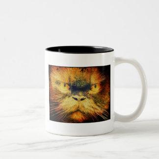 Ilustraciones enojadas de la cara del gato taza dos tonos
