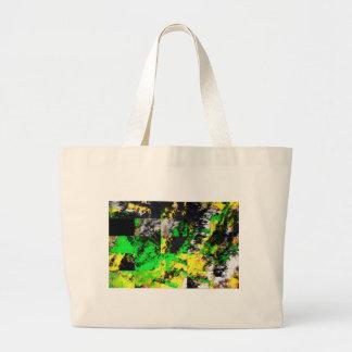 Ilustraciones finas abstractas amarillas verdes im bolsa de tela grande