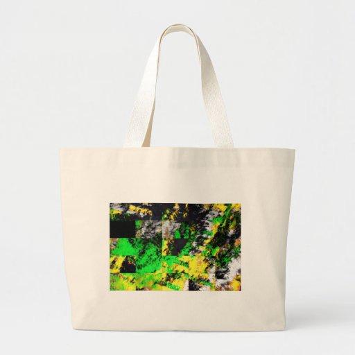 Ilustraciones finas abstractas amarillas verdes im bolsa tela grande