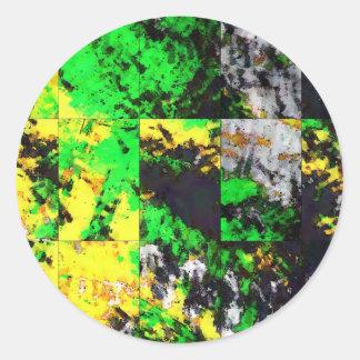 Ilustraciones finas abstractas amarillas verdes pegatina redonda