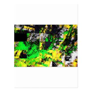 Ilustraciones finas abstractas amarillas verdes postales