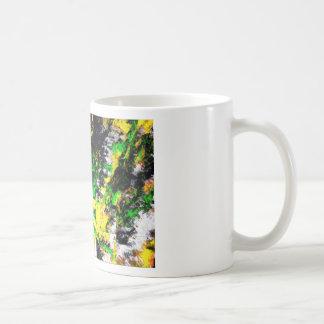 Ilustraciones finas abstractas amarillas verdes taza básica blanca