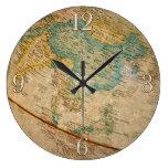 Ilustraciones geográficas clásicas del globo reloj de pared