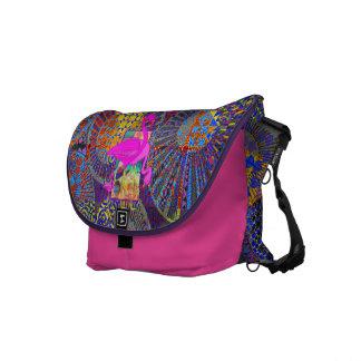 ilustraciones geométricas abstractas y flamencos r bolsas de mensajeria