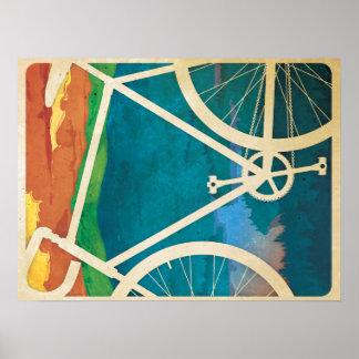 Ilustraciones hermosas de la bicicleta - bici NY Póster