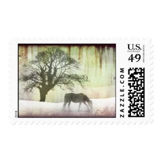 Ilustraciones hermosas del caballo de la nieve sello postal