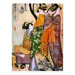 Ilustraciones japonesas del vintage que ofrecen al postal